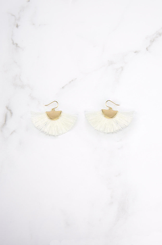 Lara Fan Earrings in White [BACKORDER]