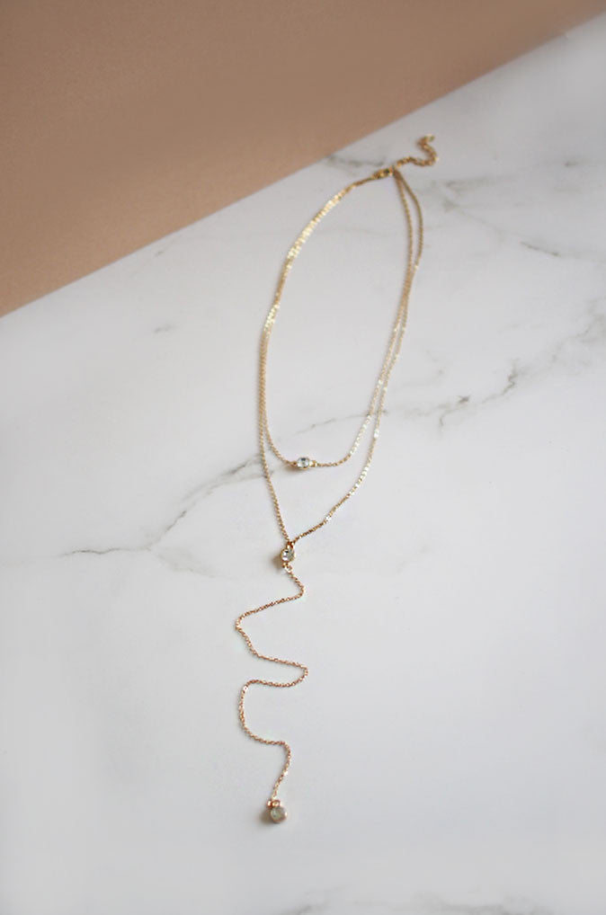 Liac Crystal Drip Necklace in Gold