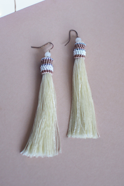 Lilah Tassel Earrings in Cream [27% OFF]