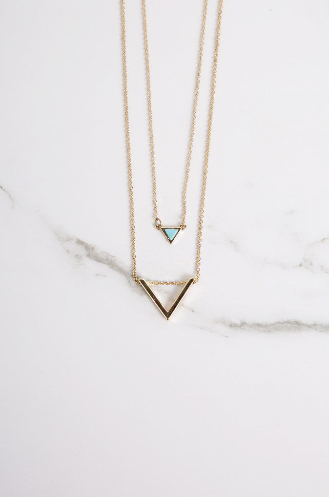 Marmair Layered Necklace with Turquoise Marble