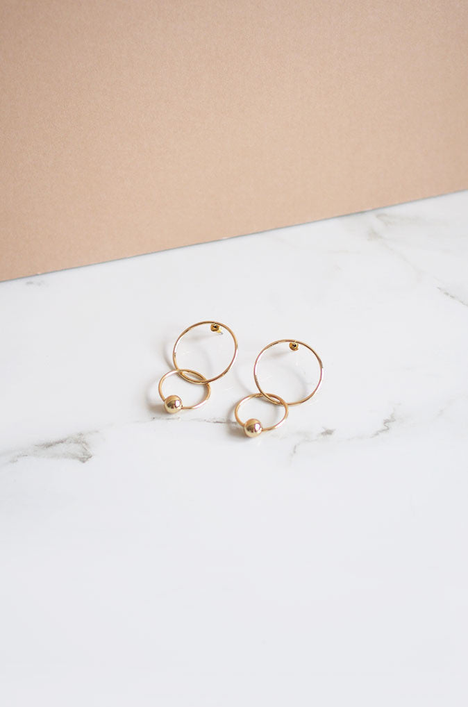 Noba Layered Earrings in Gold