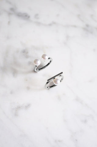 Oisre Ring Set with Pearls in Silver