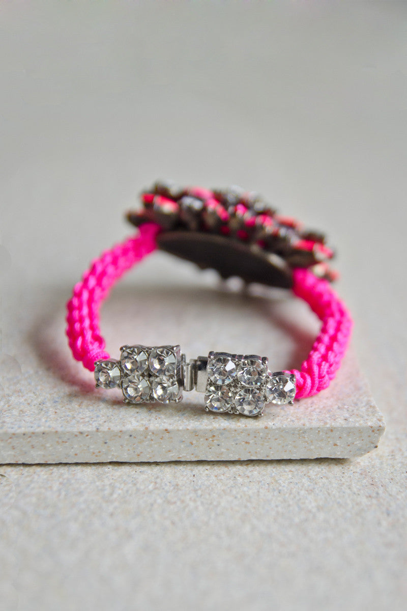 Pelias Rope & Gem Bracelet in Pink [LAST PIECE]