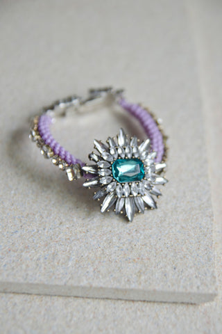 Pelias Rope & Crystal Bracelet in Purple [LAST PIECE]