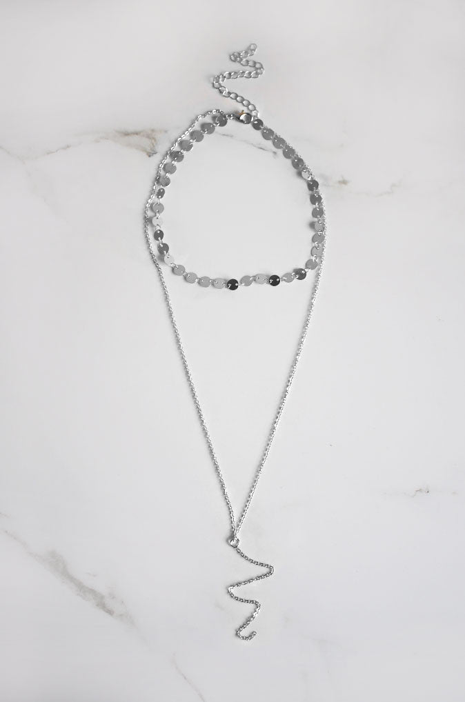 Sil Layered Necklace in Silver [22% OFF]