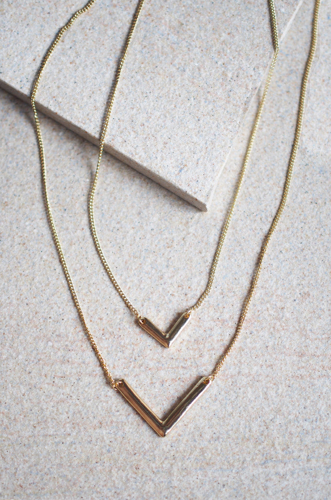 Siphus Layered V Necklace in Gold