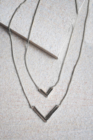 Siphus Layered V Necklace in Silver