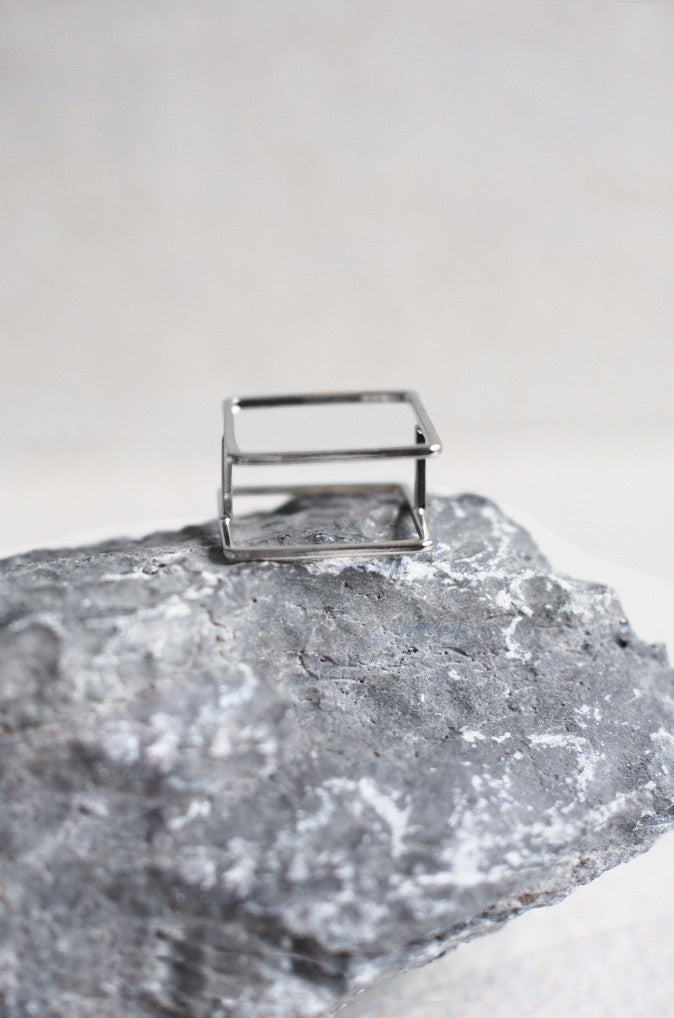 Square Flat Ring in Silver
