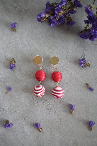 Strio Ball Earrings in Red and White Stripes