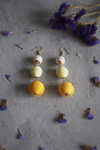 Strio Ball Earrings in Pastel Yellow [BACKORDER]