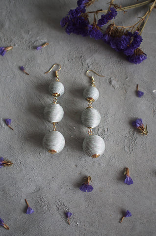 Strio Ball Earrings in Grey