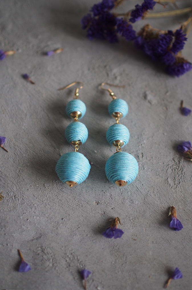 Strio Ball Earrings in Pale Blue