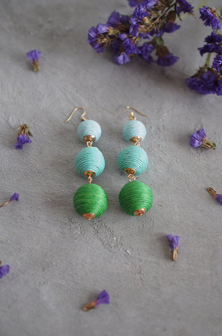 Strio Ball Earrings in Ombre Green [BACKORDER]