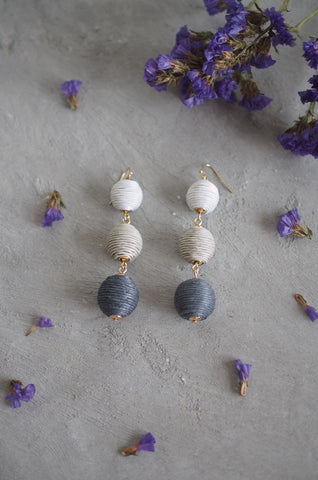 Strio Ball Earrings in Ombre Grey [BACKORDER]