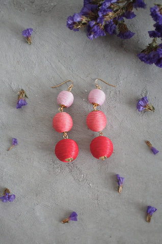 Strio Ball Earrings in Ombre Pink [BACKORDER]