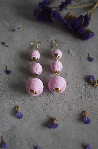 Strio Ball Earrings in Pale Pink [BACKORDER]