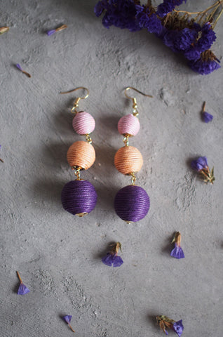 Strio Ball Earrings in Pink, Beige and Purple [BACKORDER]
