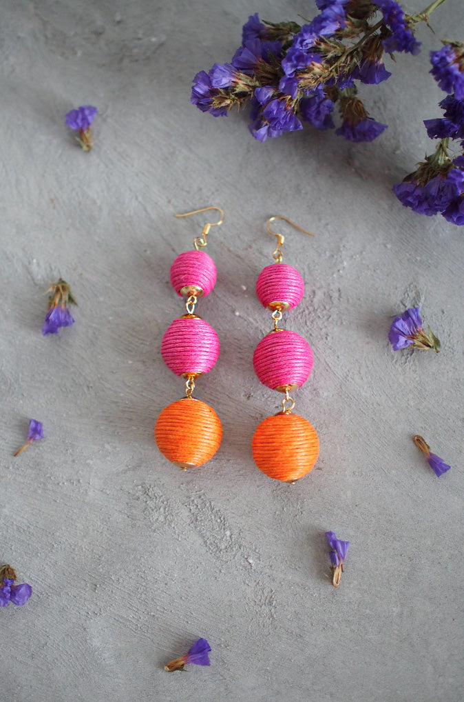 Strio Ball Earrings in Pink and Orange