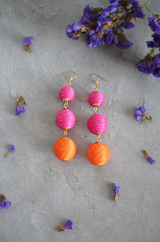 Strio Ball Earrings in Pink and Orange [BACKORDER]