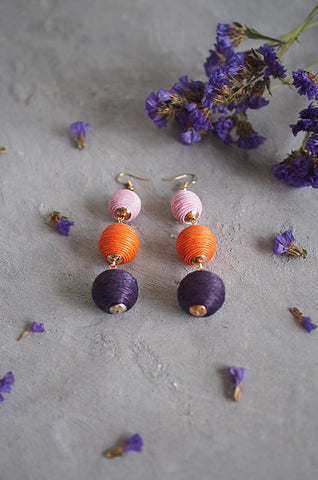 Strio Ball Earrings in Pink, Orange and Black [BACKORDER]