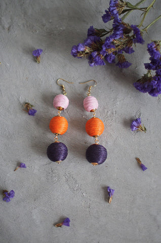 Strio Ball Earrings in Pink, Orange and Black