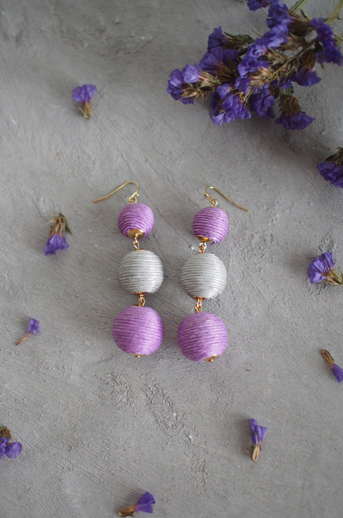 Strio Ball Earrings in Purple and Grey