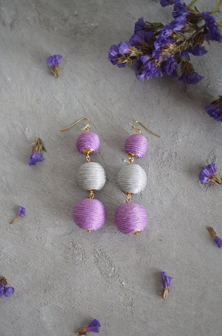 Strio Ball Earrings in Ombre Pink
