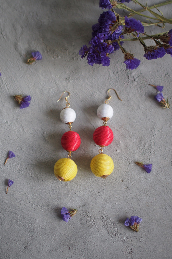 Strio Ball Earrings in White, Red and Yellow