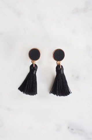Tacai Round Tassel Earrings in Black