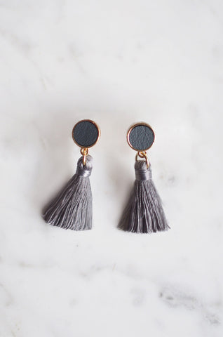 Tacai Round Tassel Earrings in Grey