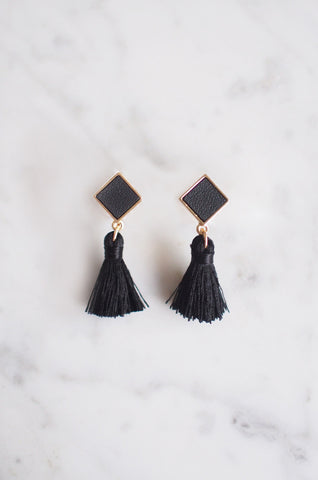 Tacai Square Tassel Earrings in Black