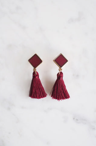 Tacai Square Tassel Earrings in Red