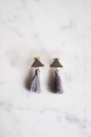 Tacai Triangle Tassel Earrings in Grey