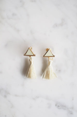 Tacai Triangle Tassel Earrings in Ivory