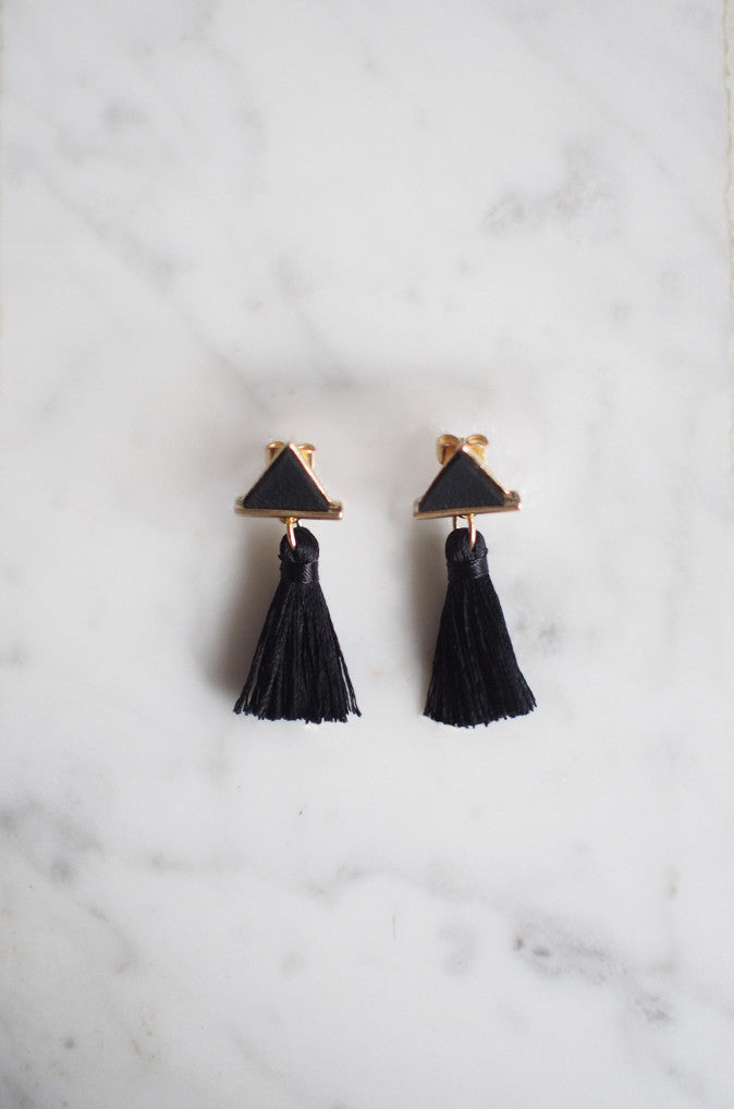 Tacai Triangle Tassel Earrings in Black [20% OFF]