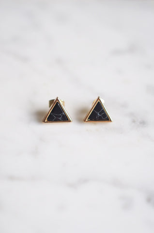 Triangle Marble Studs in Black