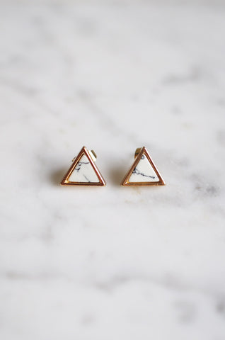 Triangle Marble Studs in White