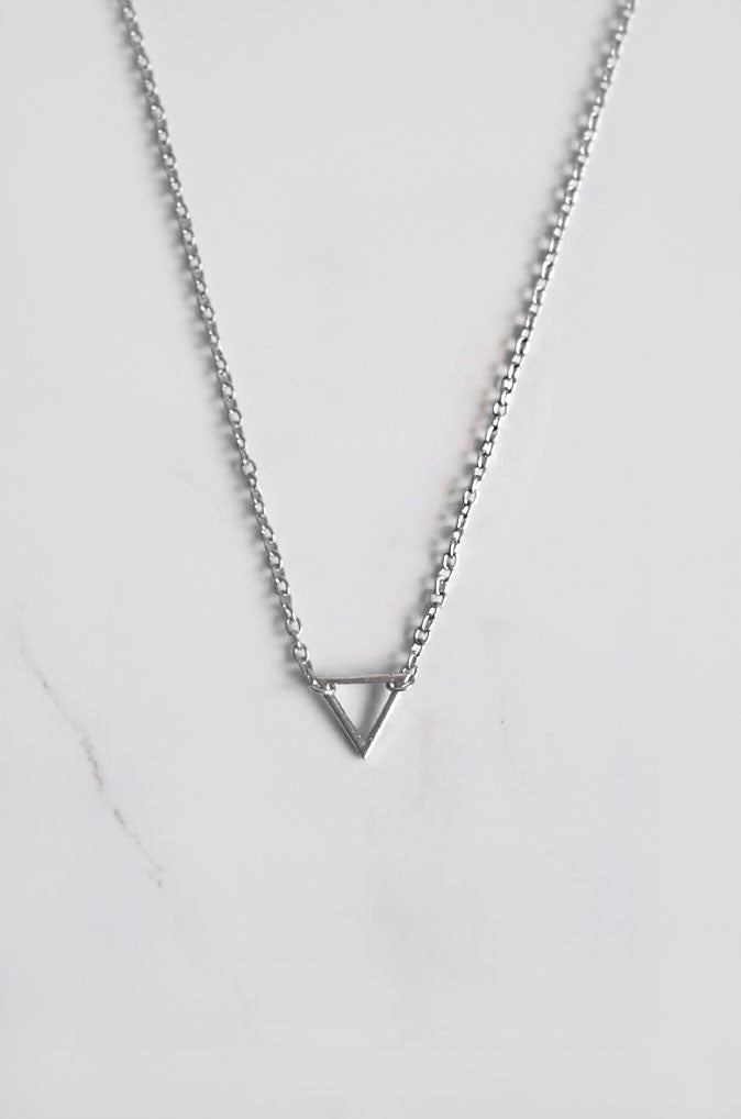Simple Triangle Necklace in Silver [47% OFF]