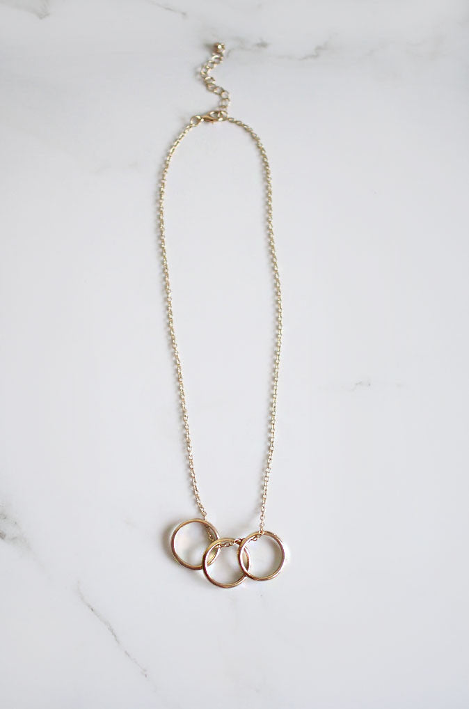 Triple Ring Necklace in Gold [36% OFF]