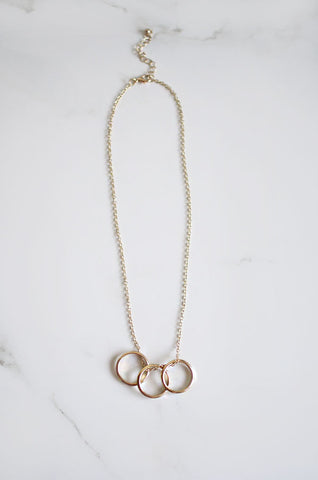 Triple Ring Necklace in Gold