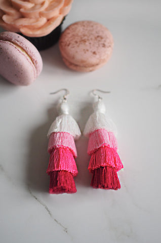 Cloir Layered Tasseled Earrings in White and Pink