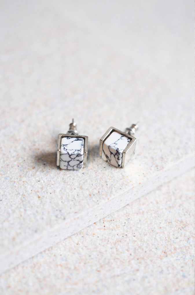 Sera Marbled Studs in Silver [LAST PIECE]