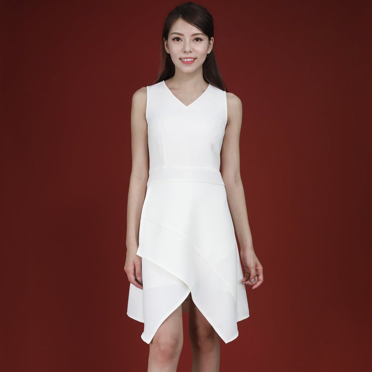 Farah Asymmetric Hem Dress White