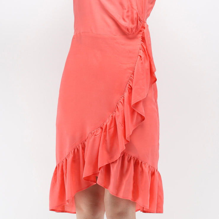 Hana coral drop shoulders dress