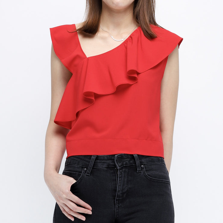 Gia Red Ruffle Vest Top