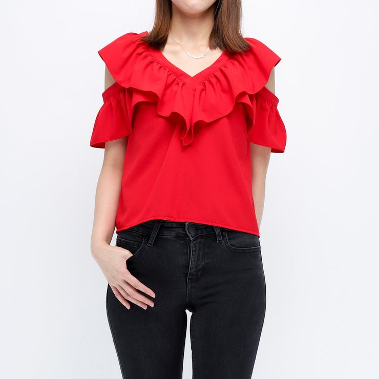 Gia ruffle sleeves red top