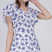 Gia blue print ruffle sleeves dress