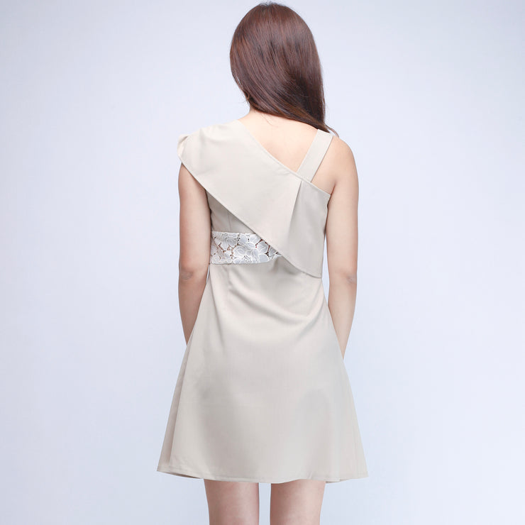 Hana beige gathered shoulders dress