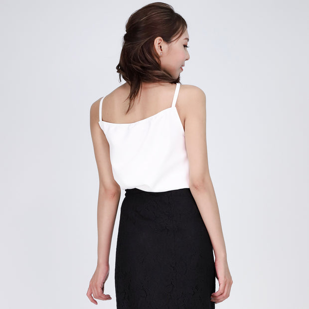 Farah Pleated Cross Neckline Top