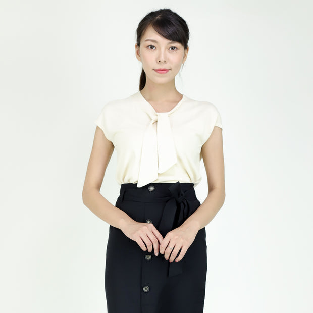 Farah Tie Neck Jersey Top